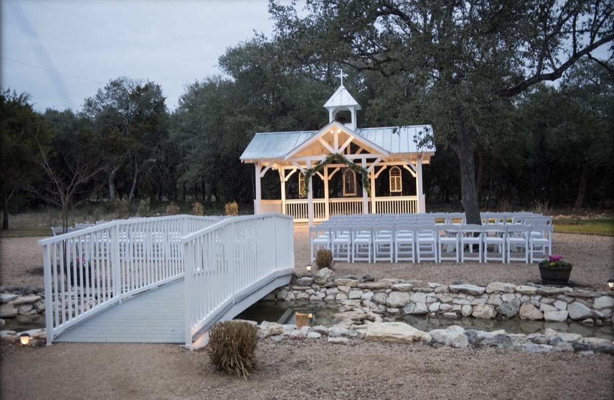 Ceremony site with bridge and altar