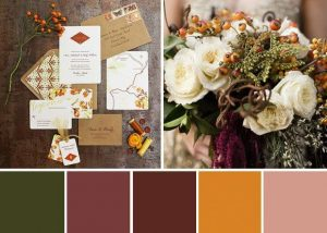 Wedding Stationary and Flowers in Green, Mauve, Burgundy, Marigold & Pink