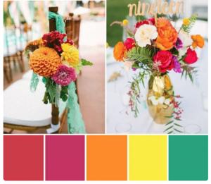 bright wedding flowers in pinks, oranges, yellows