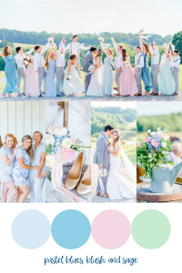 wedding images in spring blues, pinks and greens