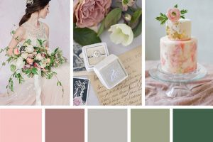 Wedding dress, decor and wedding cake in spring color palette of pink and green