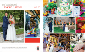 Magazine photo of a happy bride and groom and their Fiesta style wedding