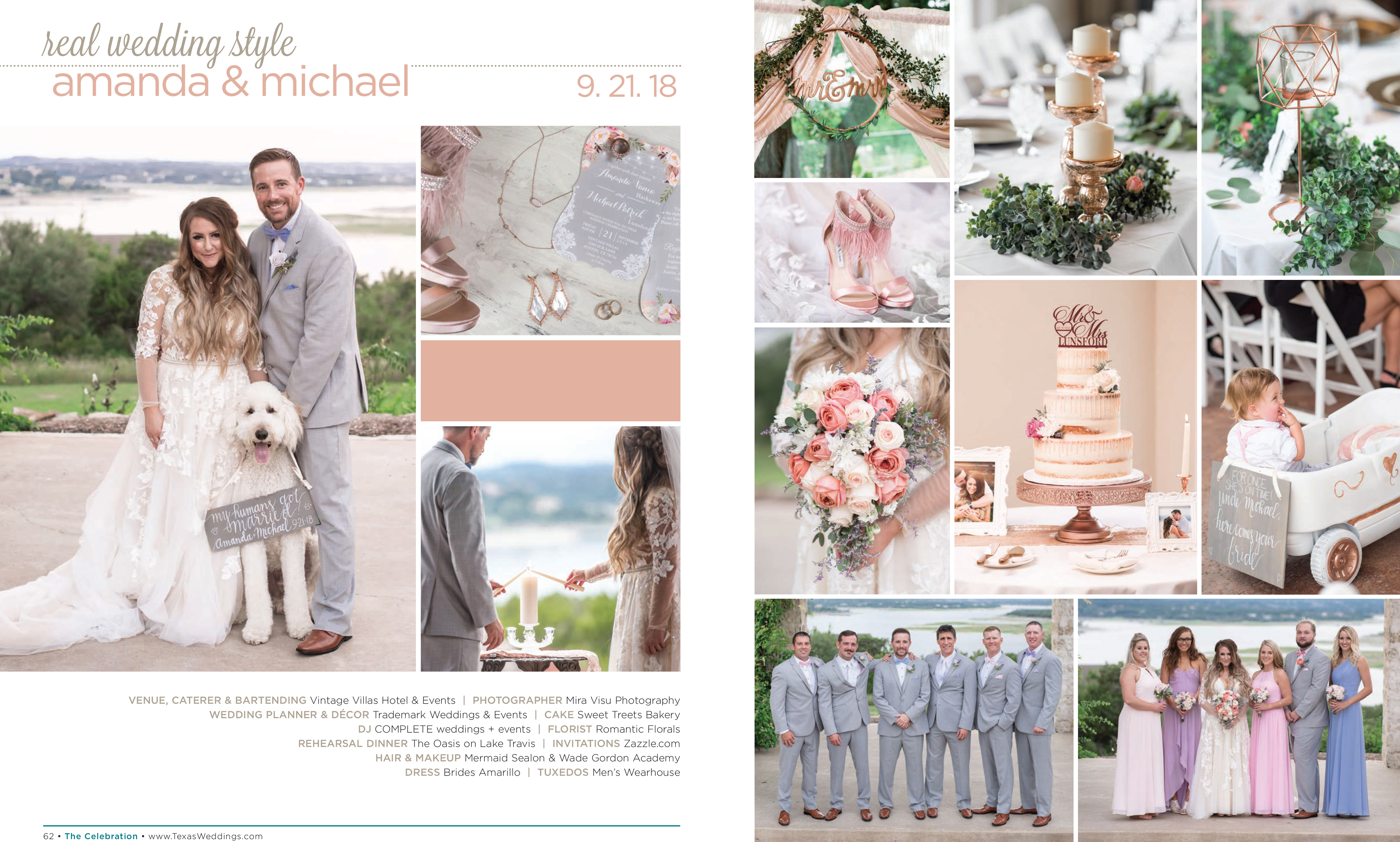 Amanda & Michael in their Real Wedding Page in the Spring/Summer 2019 Texas Wedding Guide
