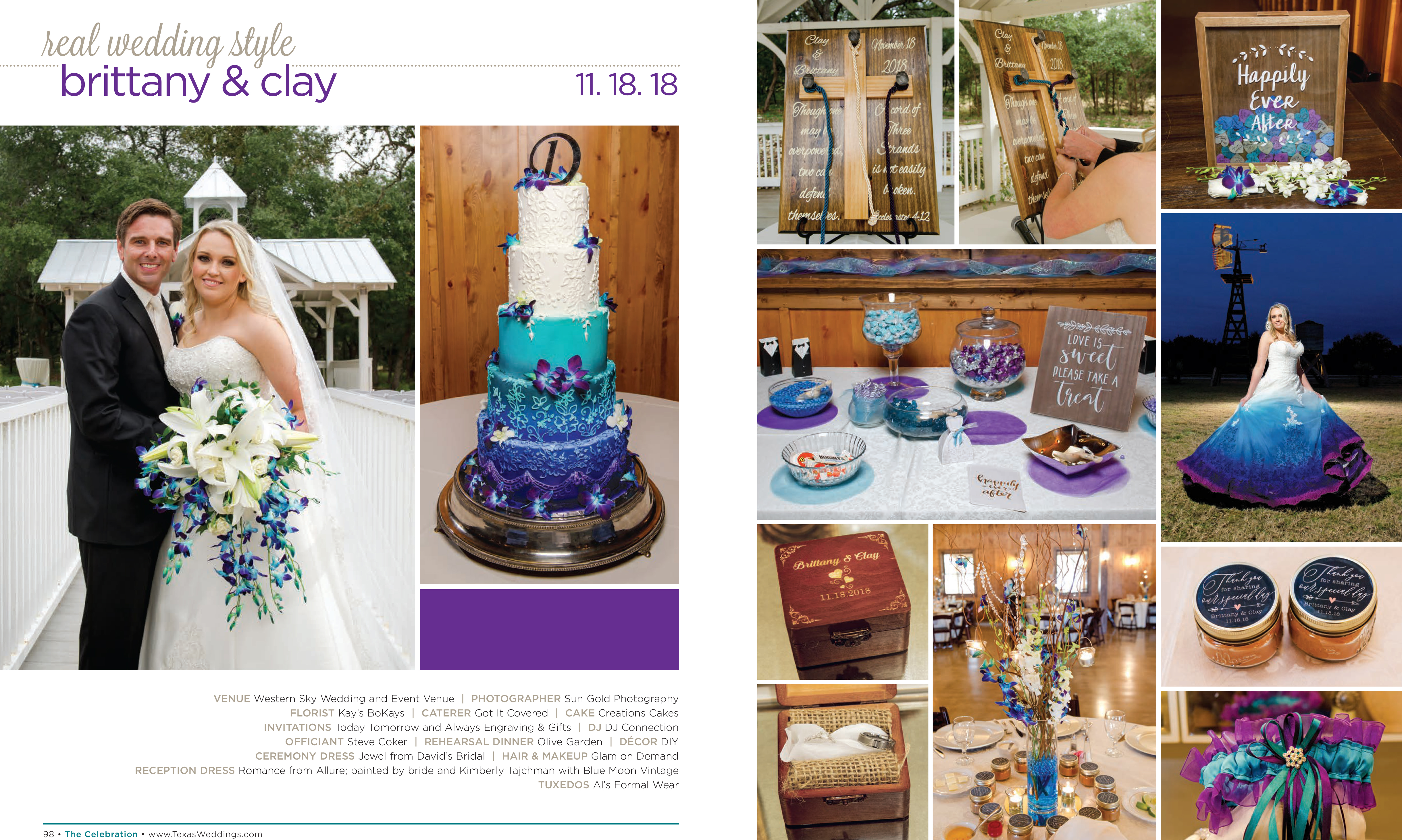 Brittany & Clay in their Real Wedding Page in the Spring/Summer 2019 Texas Wedding Guide