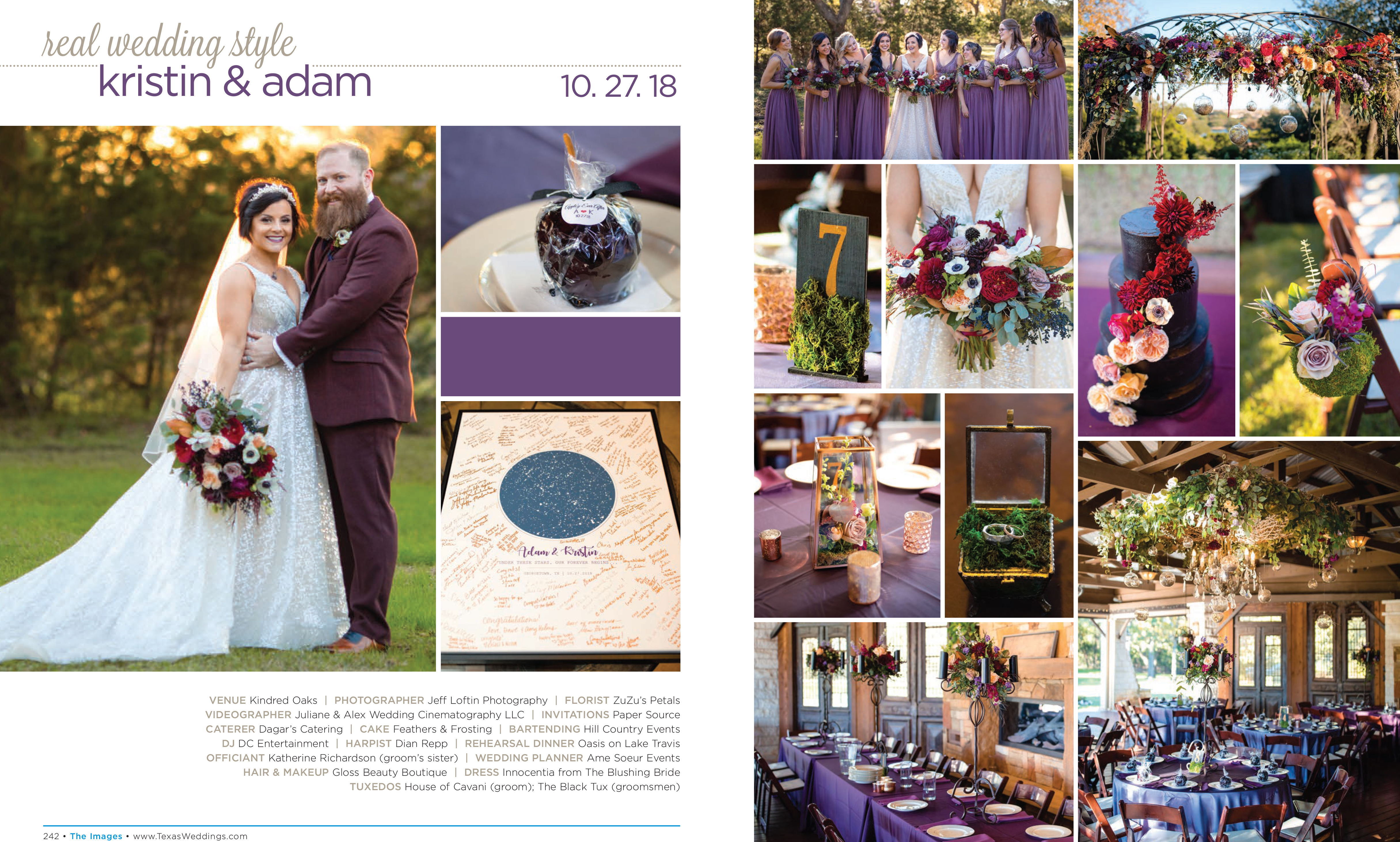 Kristin & Adam in their Real Wedding Page in the Spring/Summer 2019 Texas Wedding Guide