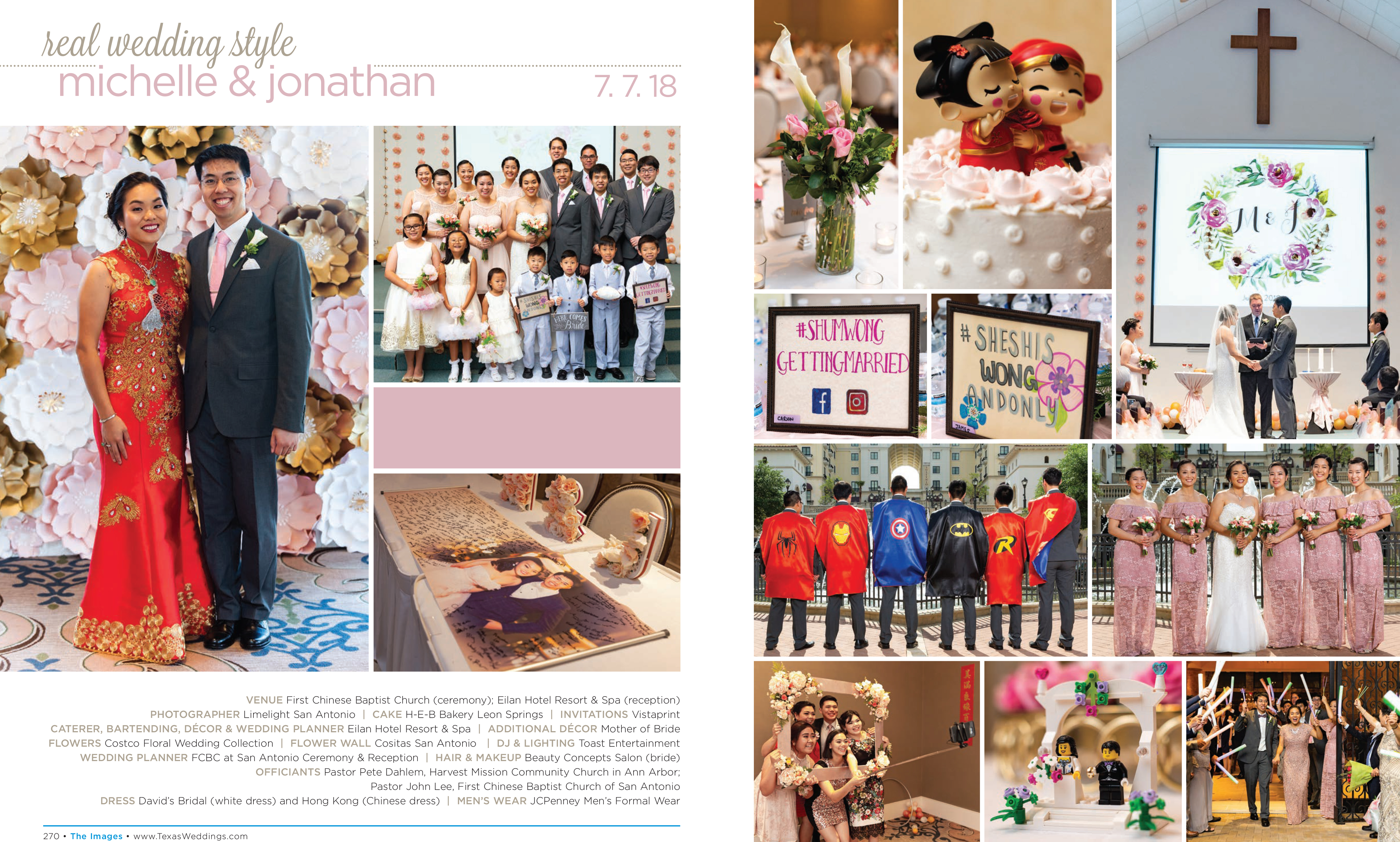 Michelle & Jonathan in their Real Wedding Page in the Spring/Summer 2019 Texas Wedding Guide