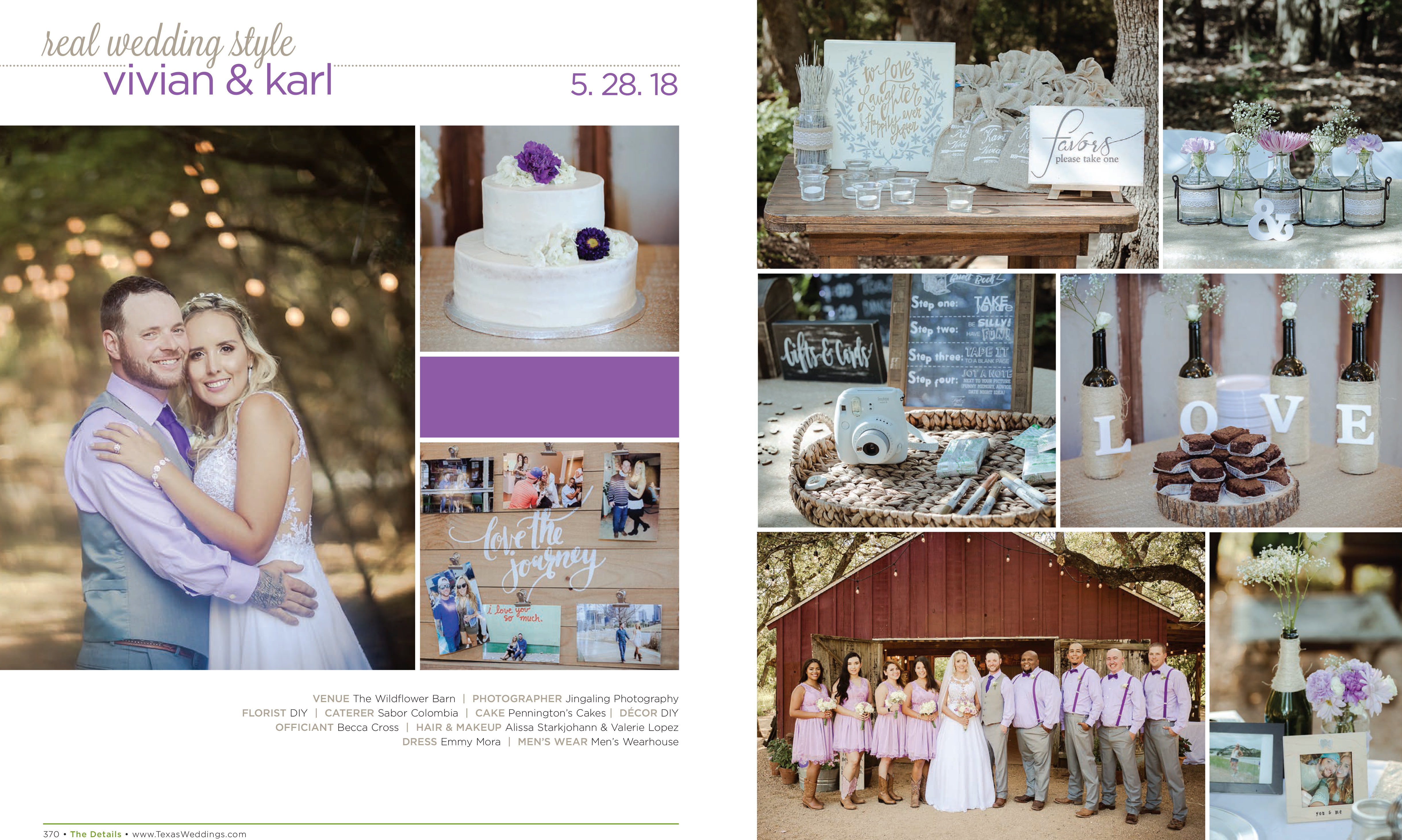 Vivian & Karl in their Real Wedding Page in the Spring/Summer 2019 Texas Wedding Guide