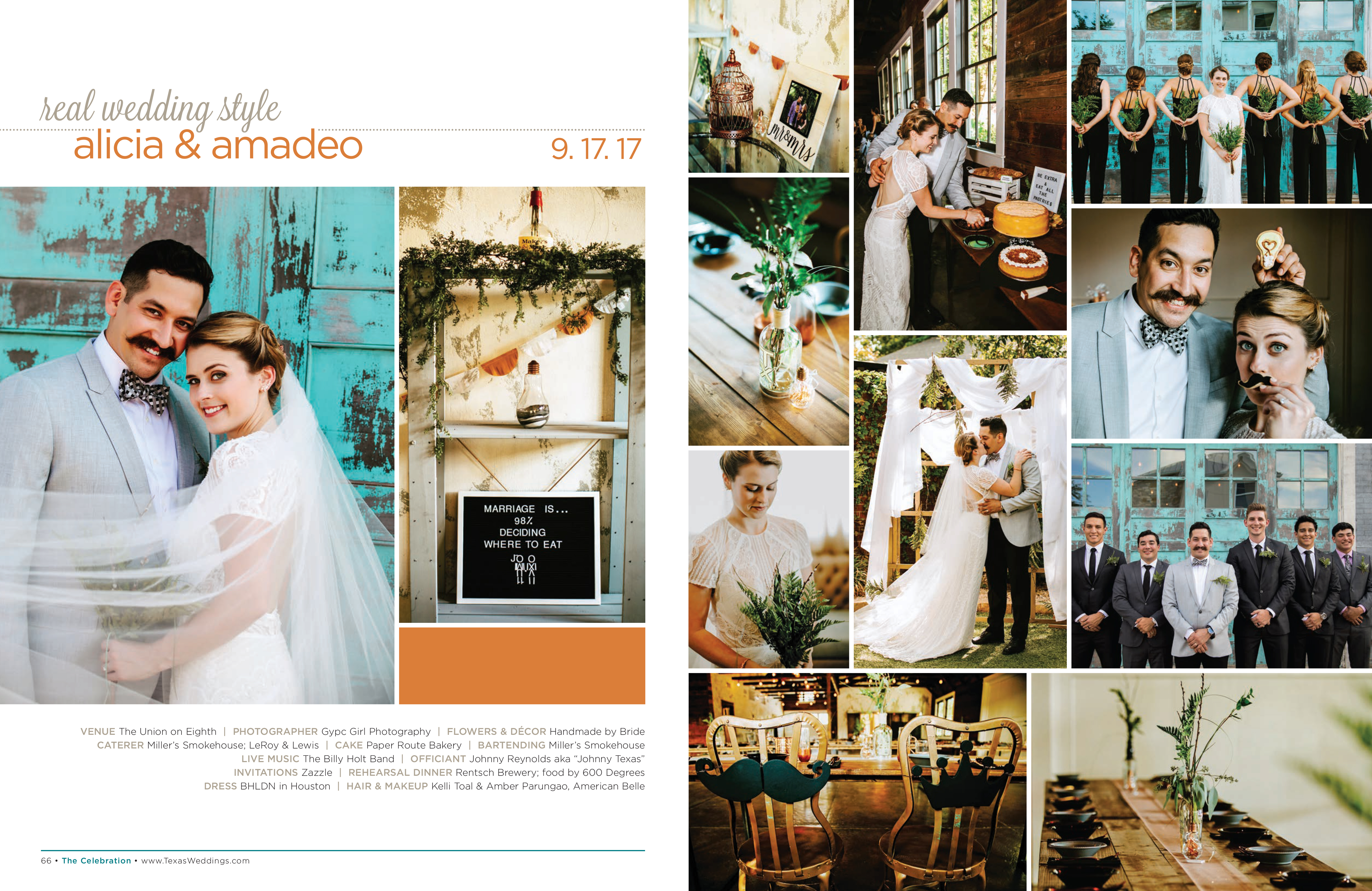 Alicia & Amadeo in their Real Wedding Page in the Spring/Summer 2018 Texas Wedding Guide