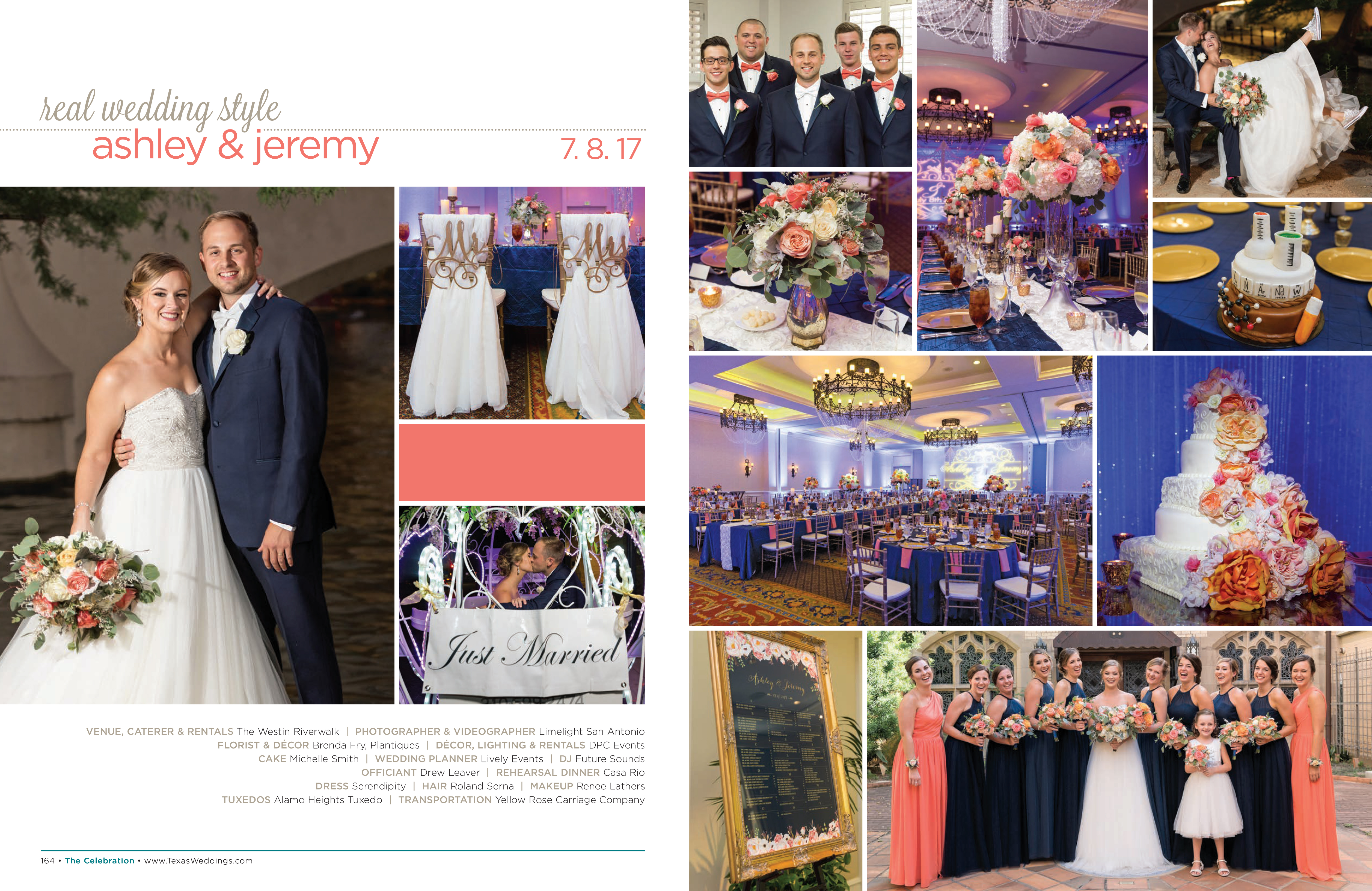 Ashley & Jeremy in their Real Wedding Page in the Spring/Summer 2018 Texas Wedding Guide