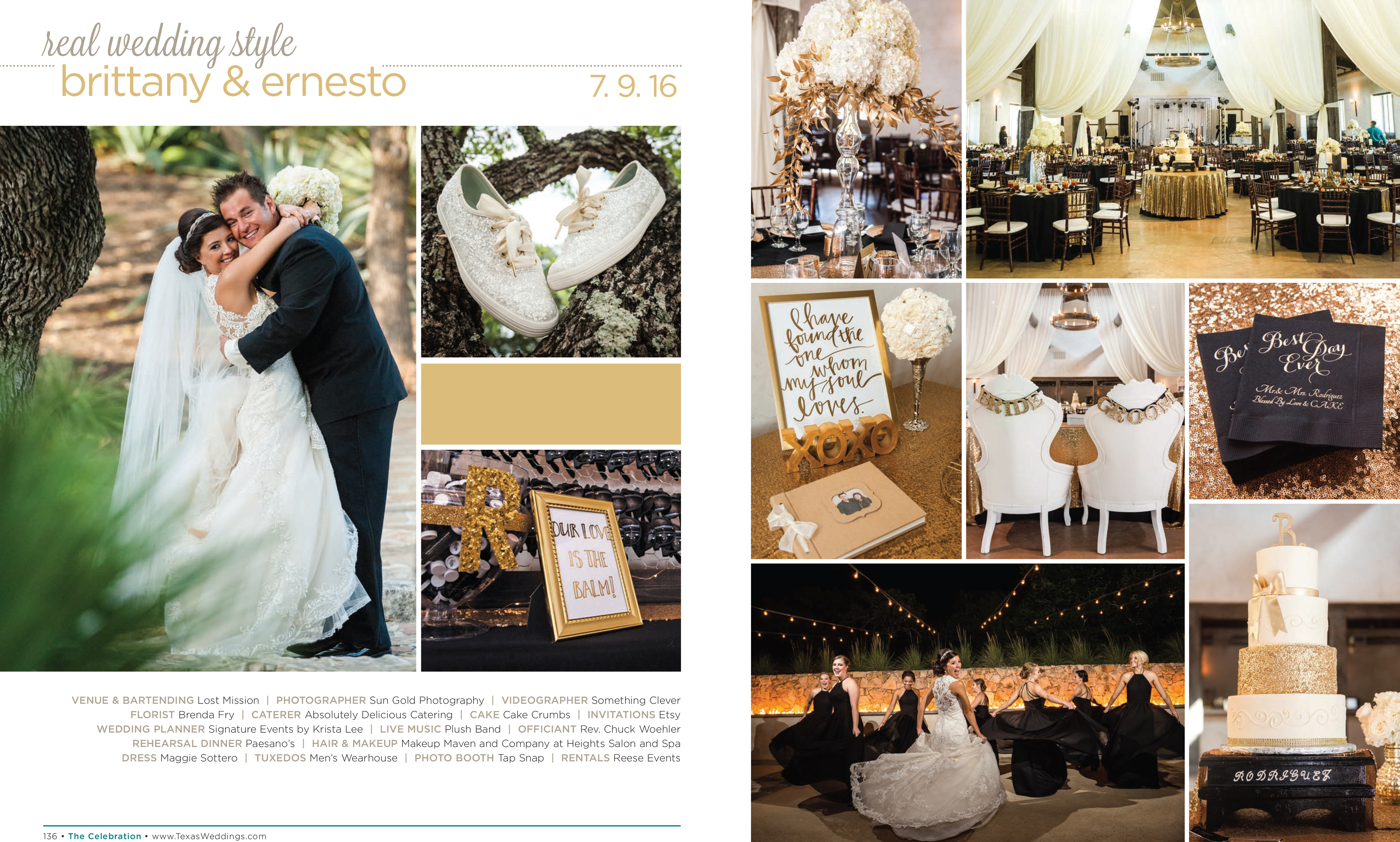 Brittany & Ernesto in their Real Wedding Page in the Spring/Summer 2017 Texas Wedding Guide