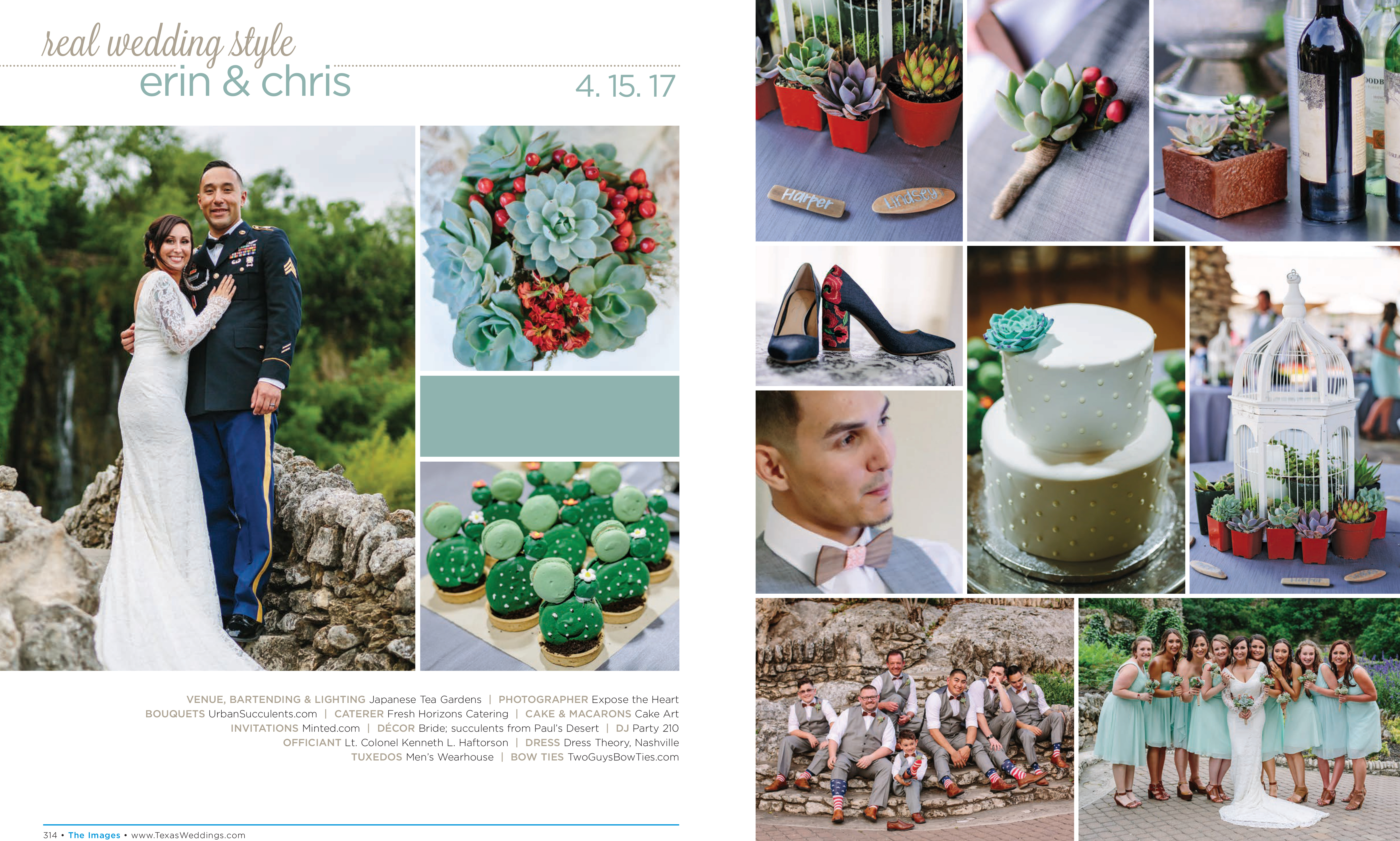 Erin & Chris in their Real Wedding Page in the Fall/Winter 2017 Texas Wedding Guide