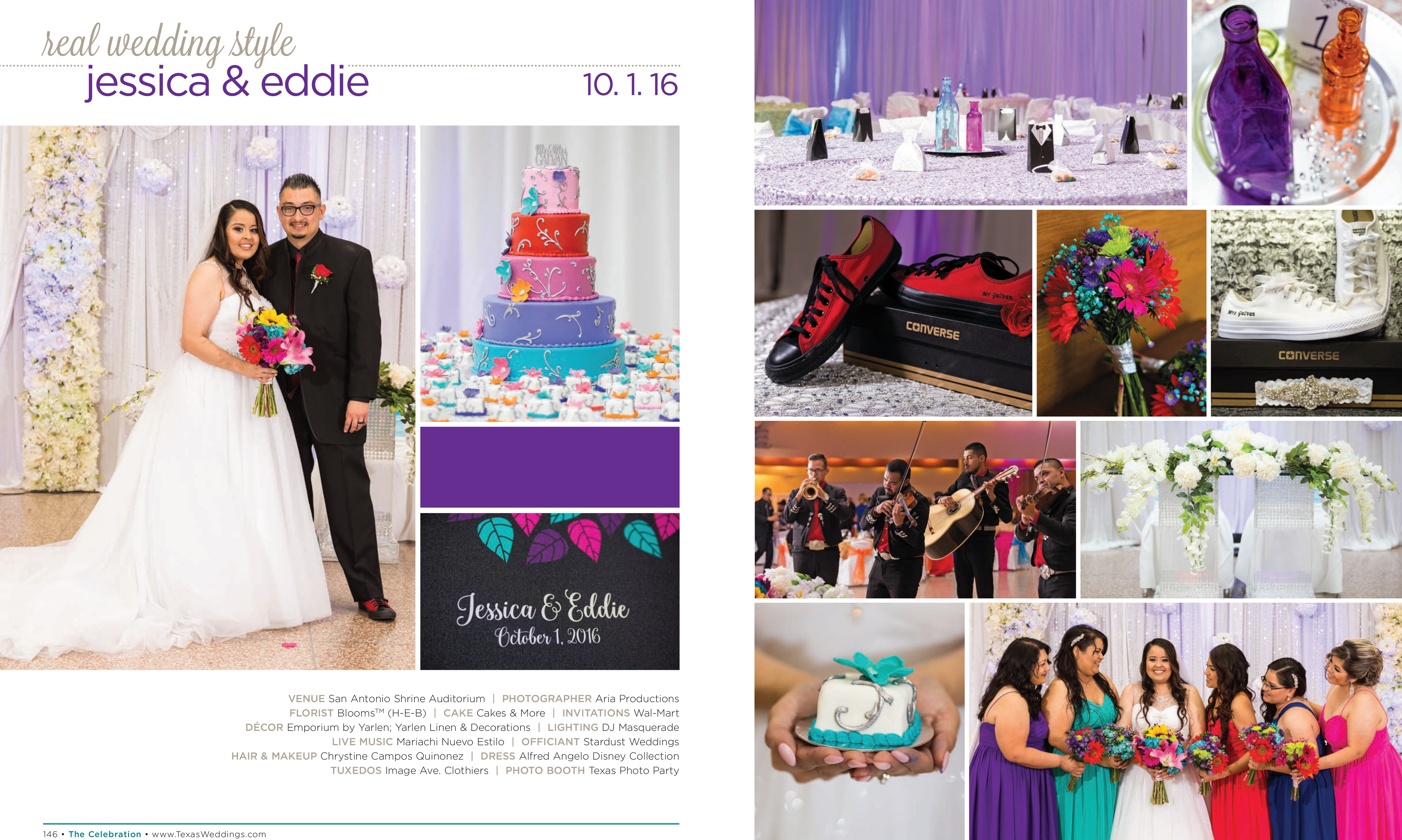 Jessica & Eddie in their Real Wedding Page in the Spring/Summer 2017 Texas Wedding Guide