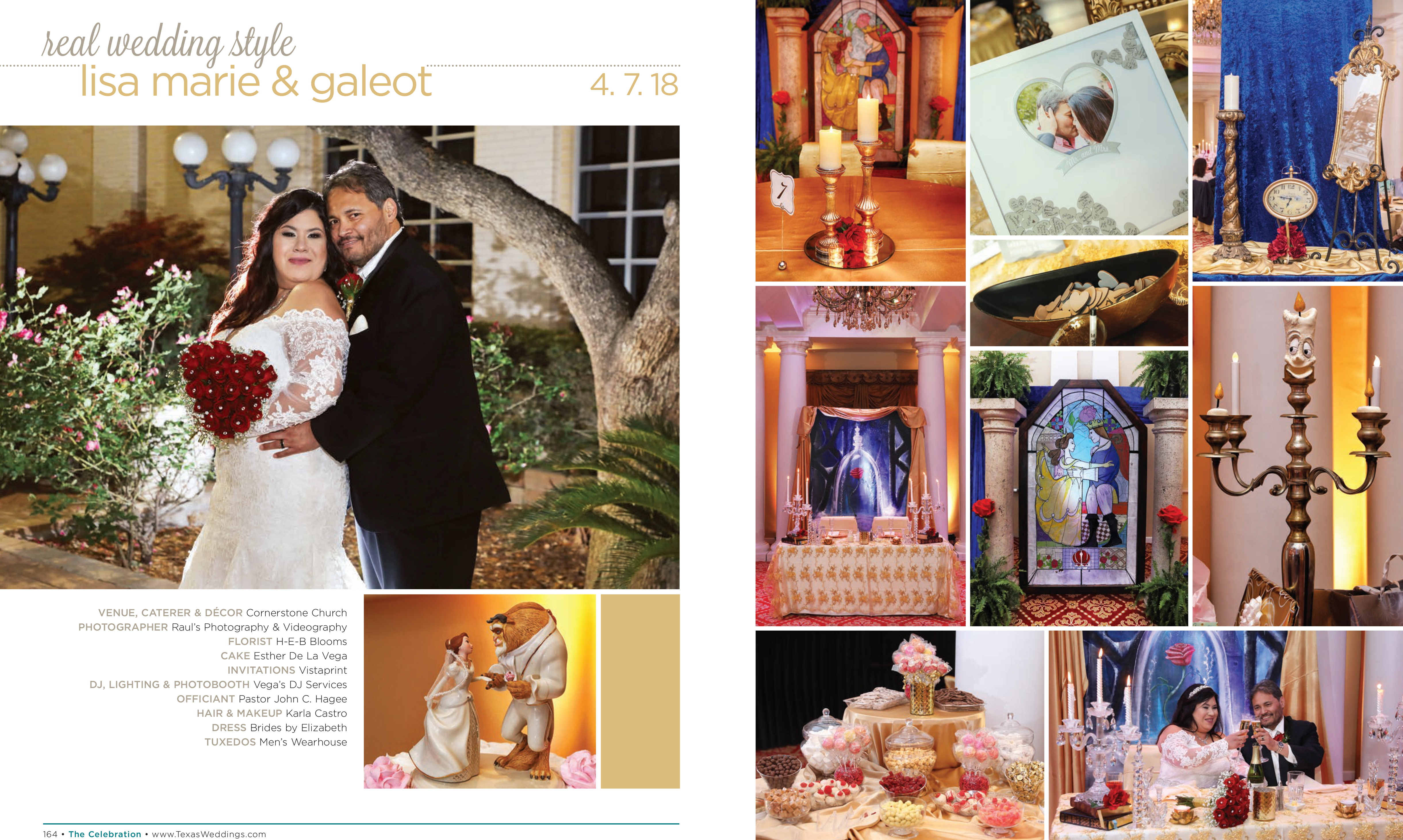 Lisa Marie & Galeot in their Real Wedding Page in the Fall/Winter 2018 Texas Wedding Guide