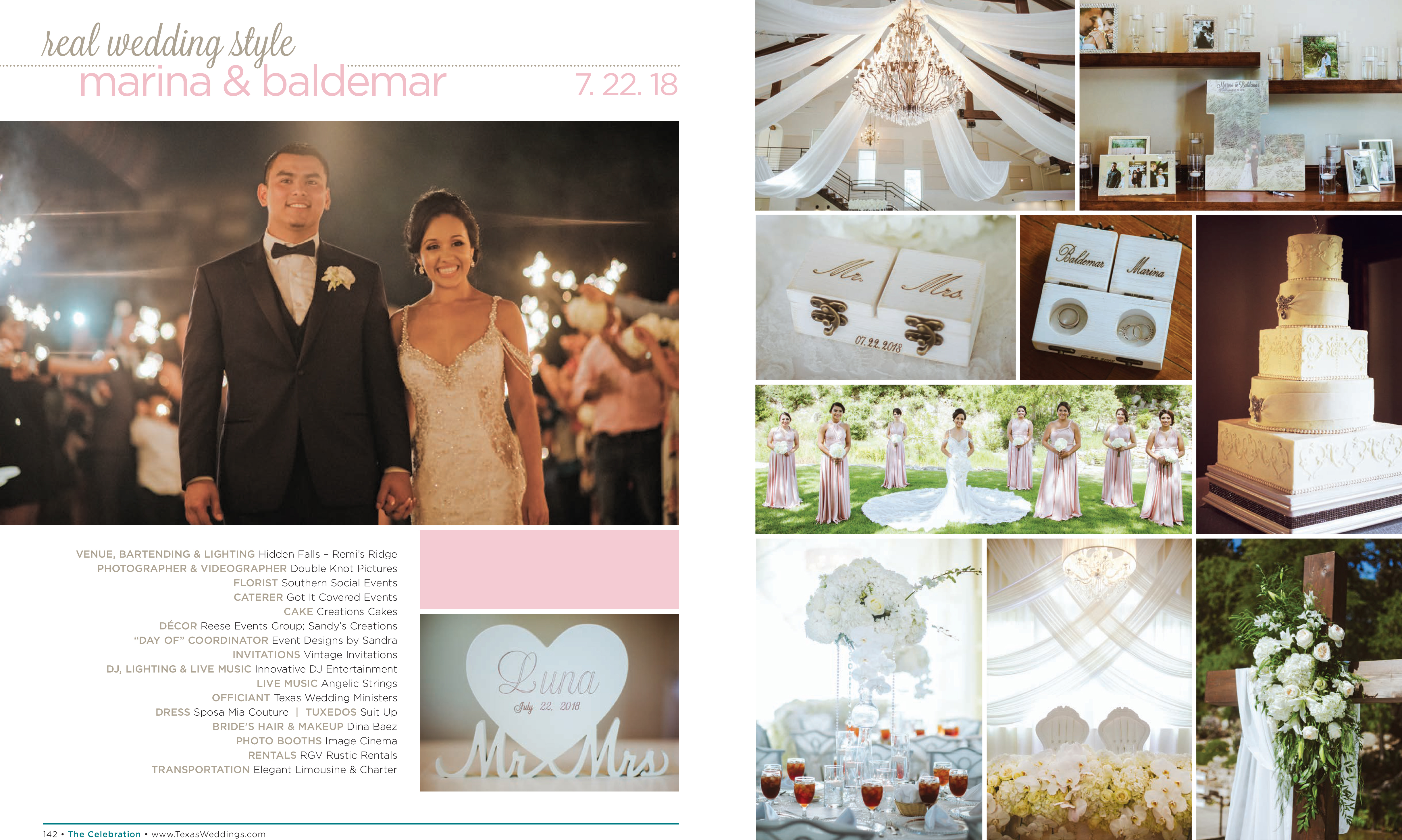 Marina & Baldemar in their Real Wedding Page in the Fall/Winter 2018 Texas Wedding Guide