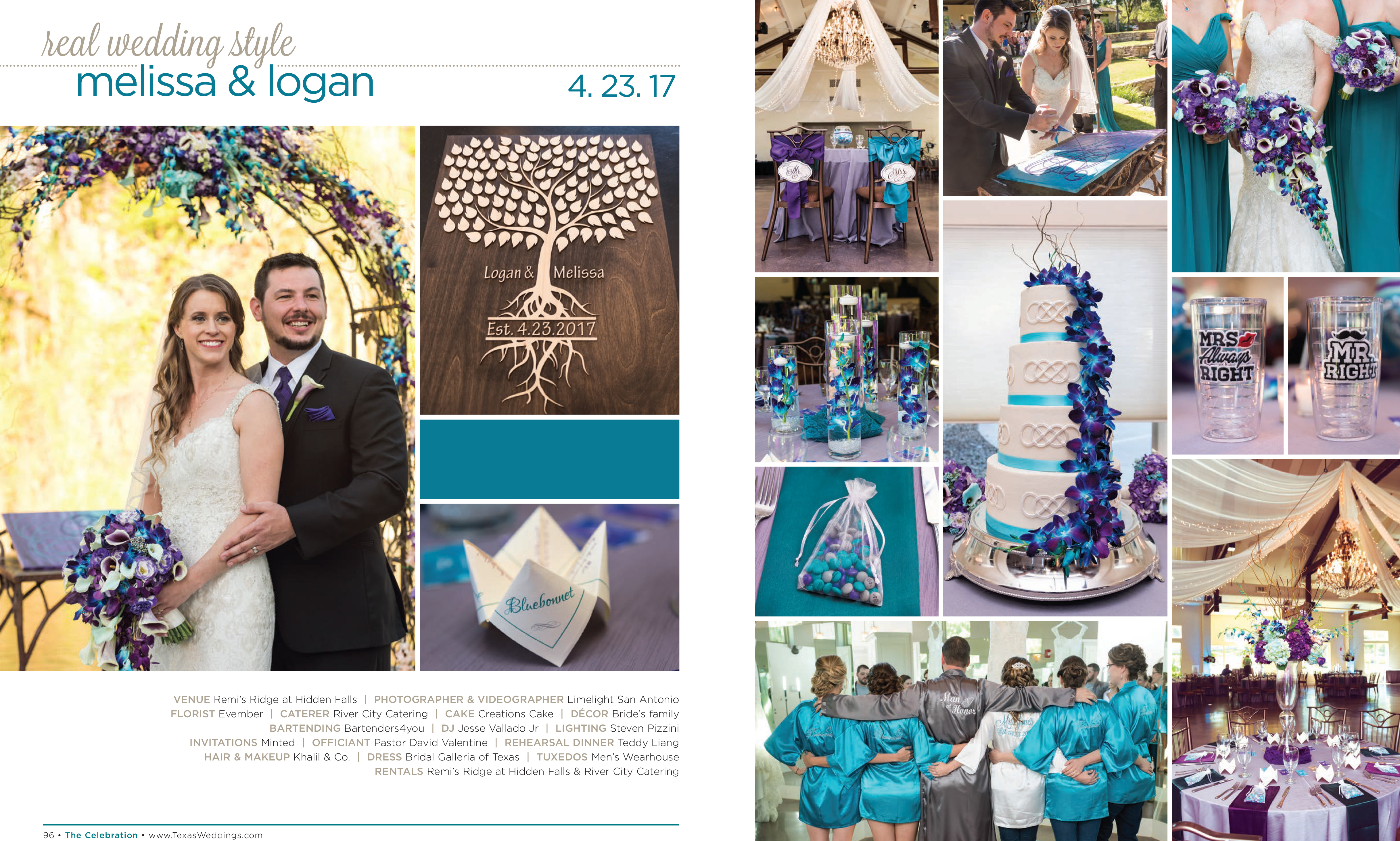 Melissa & Logan in their Real Wedding Page in the Fall/Winter 2017 Texas Wedding Guide