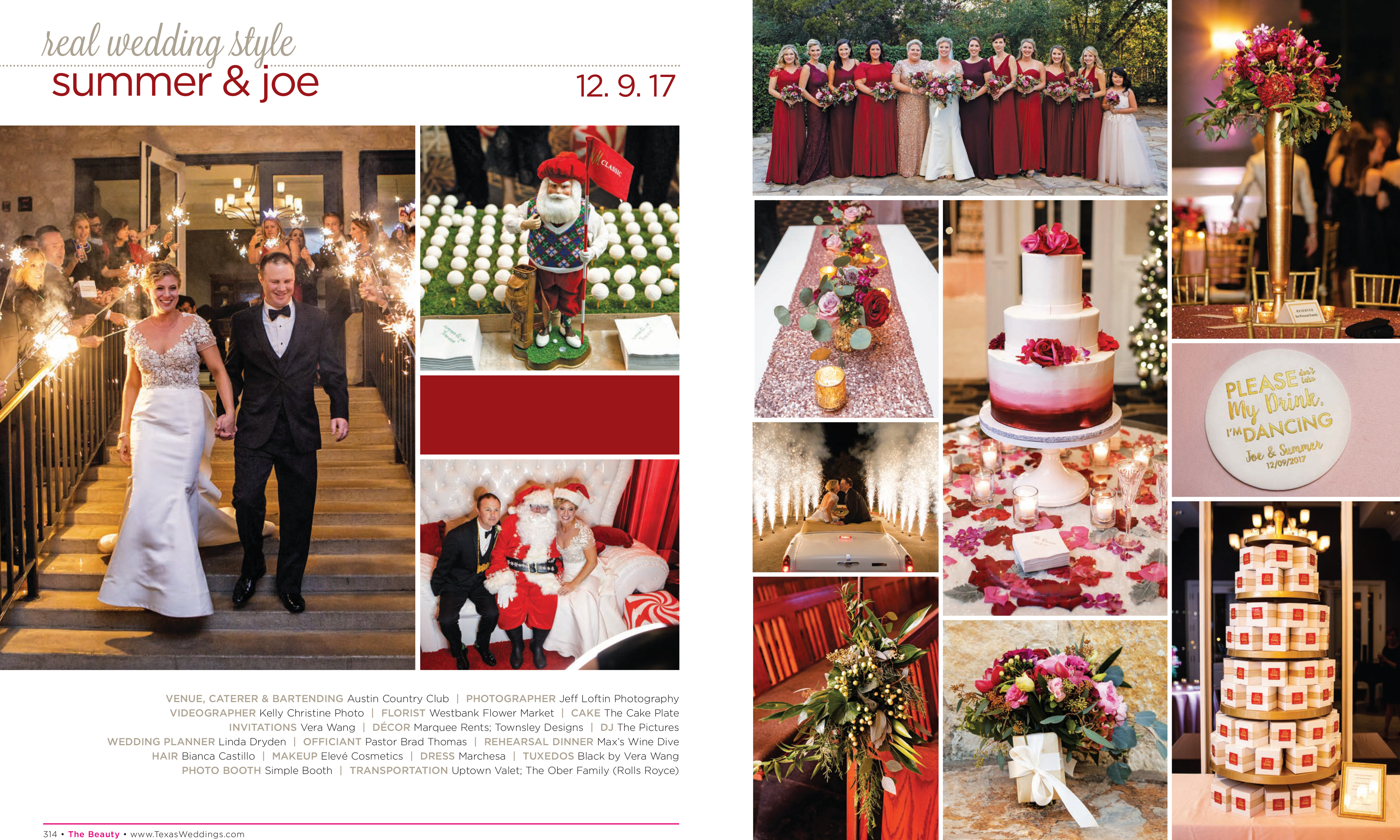 Summer & Joe in their Real Wedding Page in the Fall/Winter 2018 Texas Wedding Guide