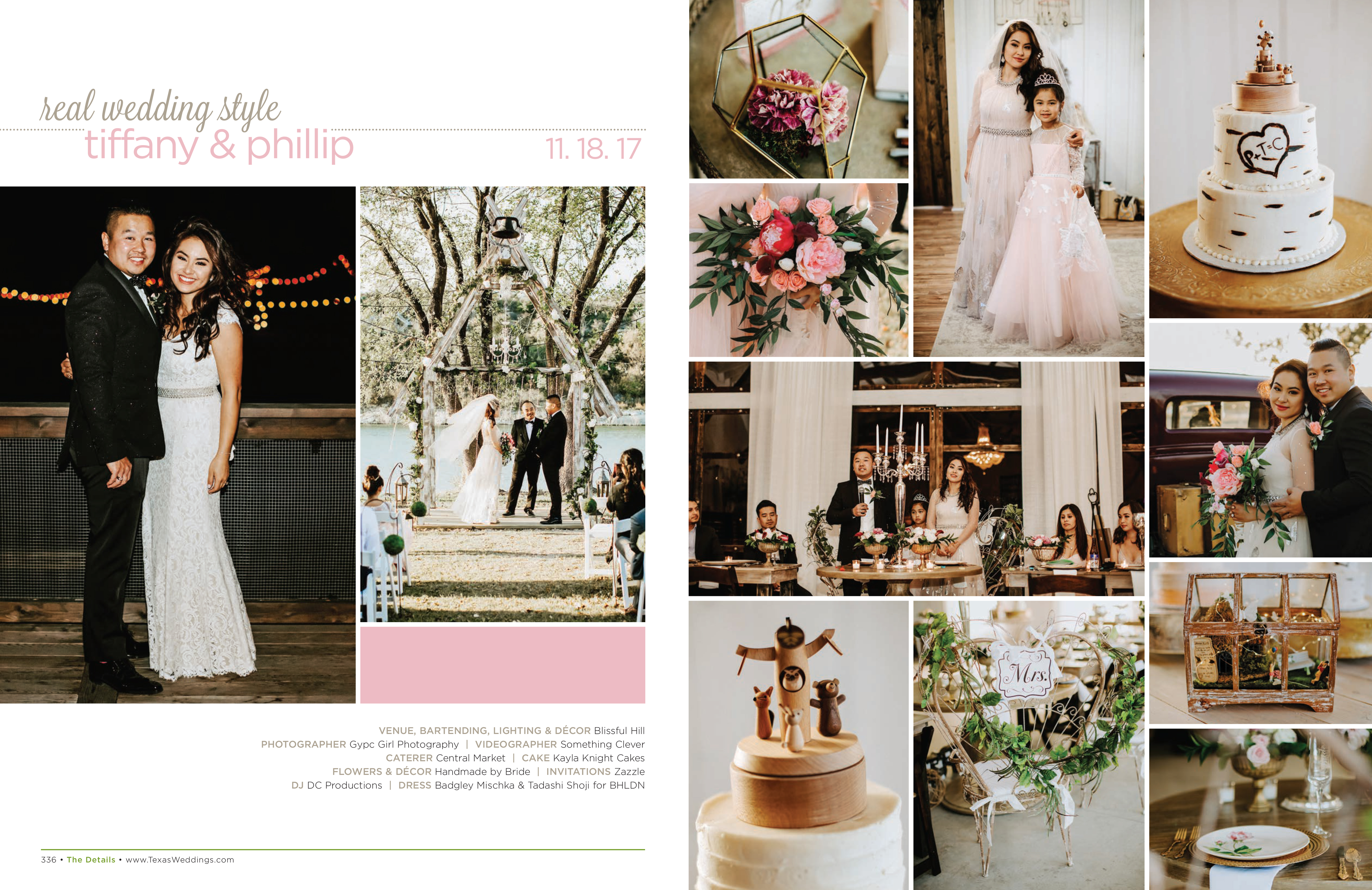 Tiffany & Phillip in their Real Wedding Page in the Spring/Summer 2018 Texas Wedding Guide